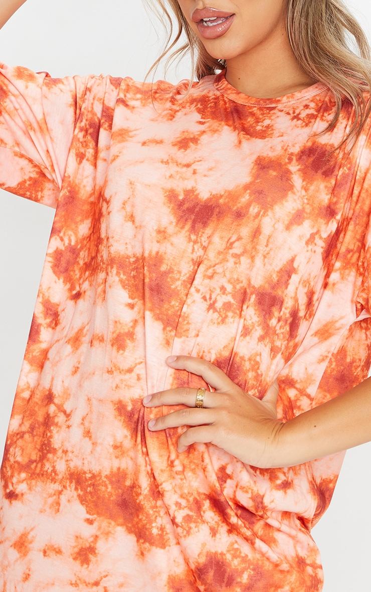 Brown Tie Dye Boyfriend T Shirt Dress 4