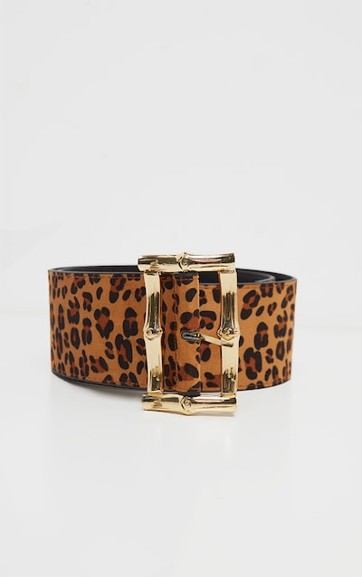 Leopard Bamboo Effect Buckle Wide Waist Belt