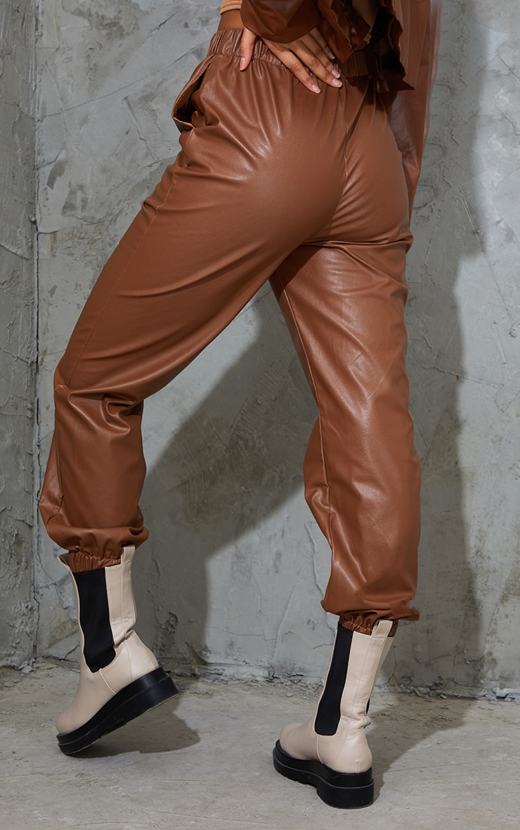 Chocolate Faux Leather Casual Joggers 3