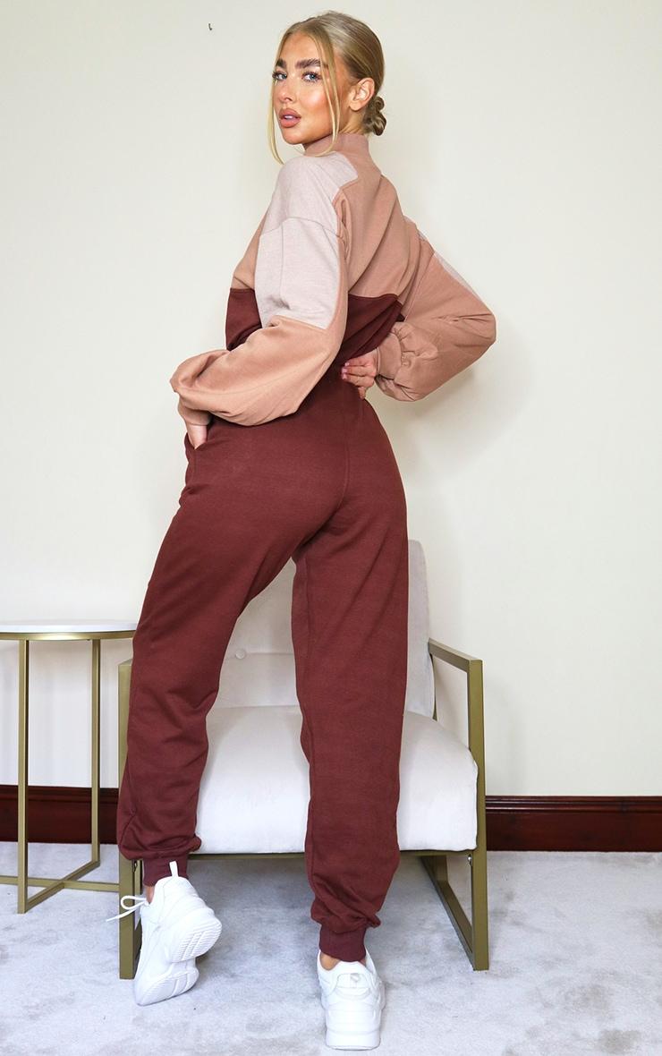 PRETTYLITTLETHING Chocolate Colour Block Zip Sweat Jumpsuit 2