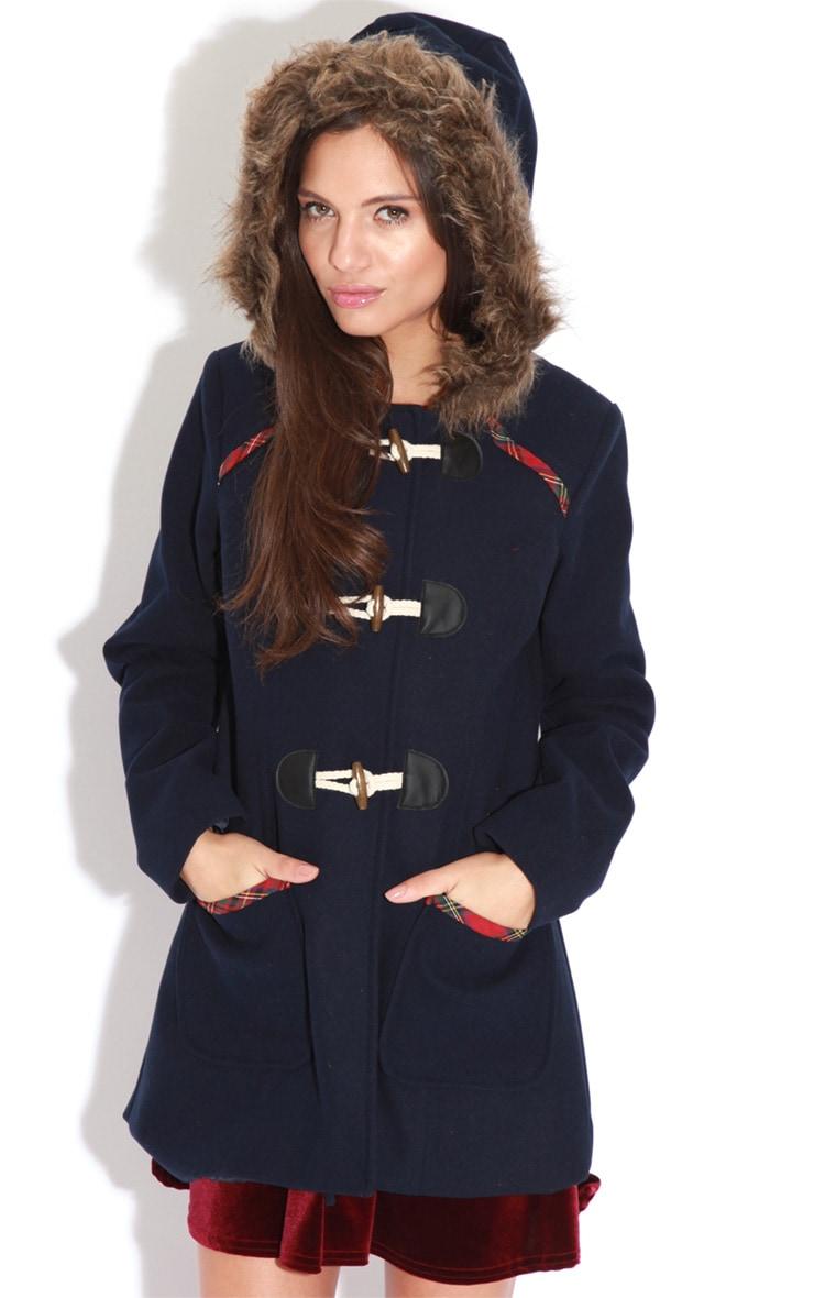 Rachel Navy Tartan Trim Duffle Coat 4