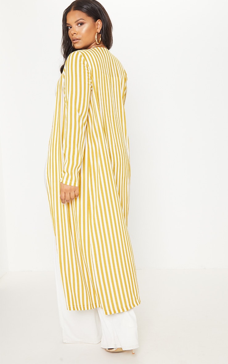 Plus Chartreuse Striped Longline Duster Jacket 2