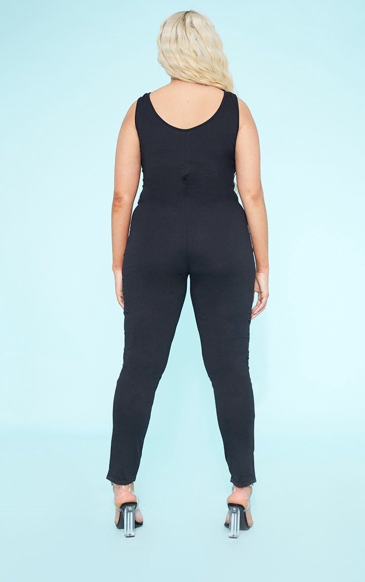 RECYCLED Plus Black Scoop Neck Jumpsuit 5