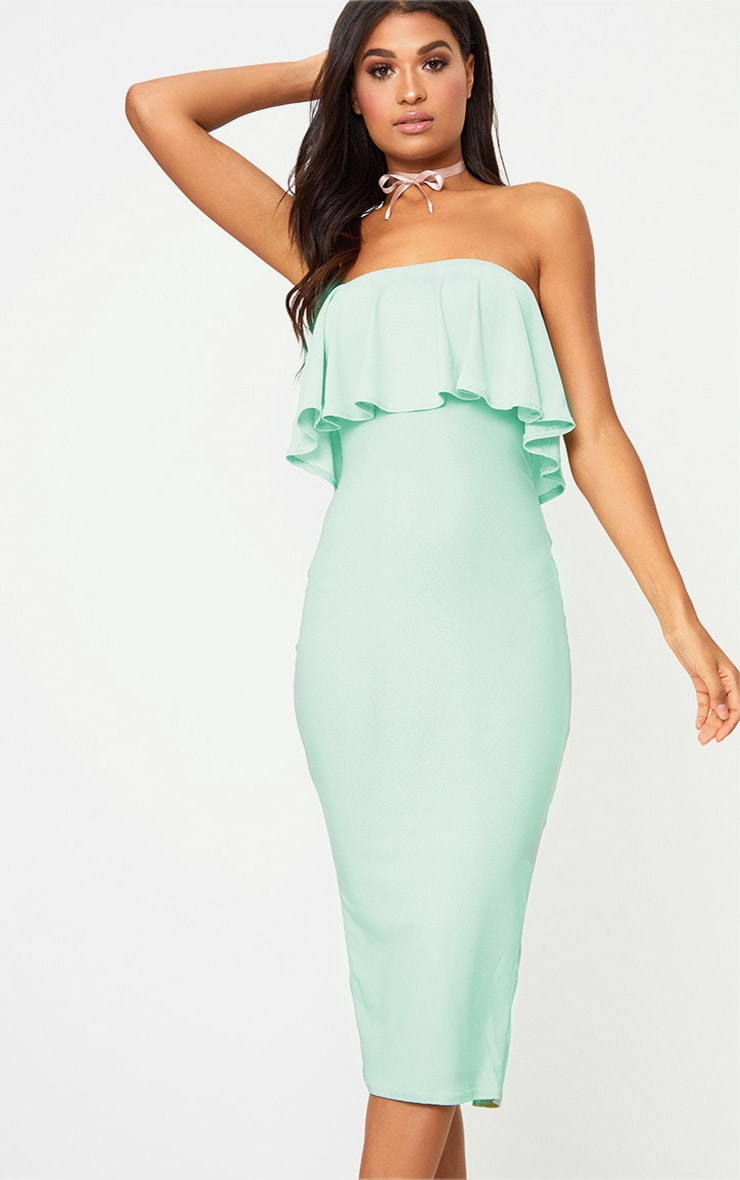 Sage Green Frill Bandeau Midi Dress  1