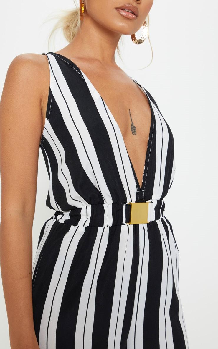 Petite Black Striped Buckle Belt Detail Jumpsuit 5