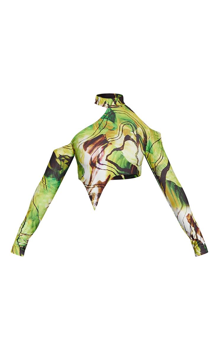 Lime Abstract Marble Print Slinky High Neck Asymmetric Hem Crop Top 5