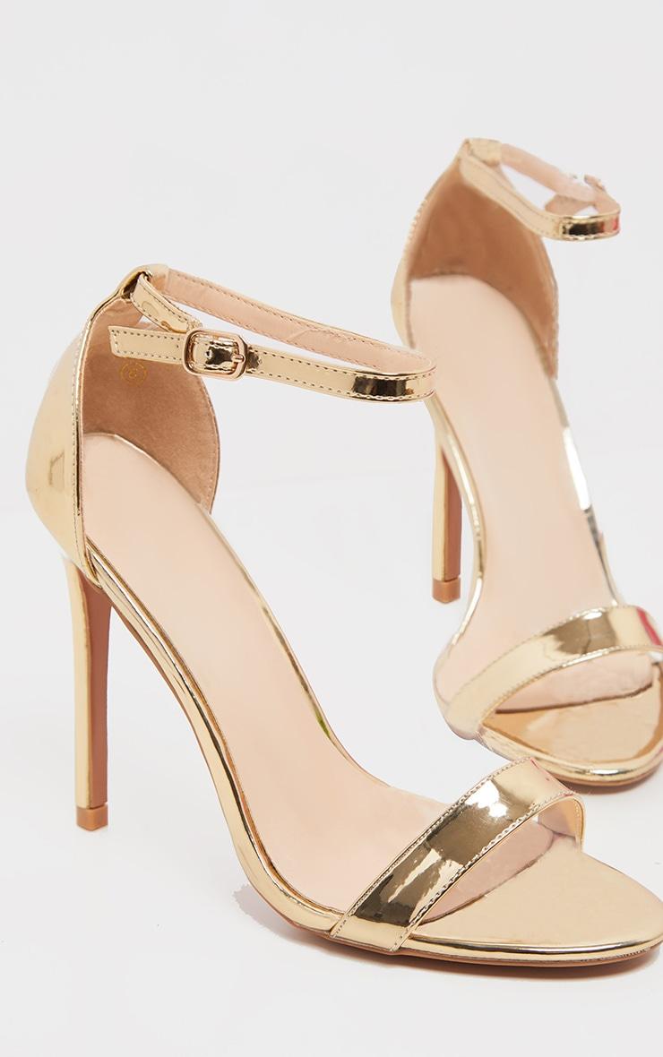 Shiny Gold Clover Strap Heeled Sandal 1