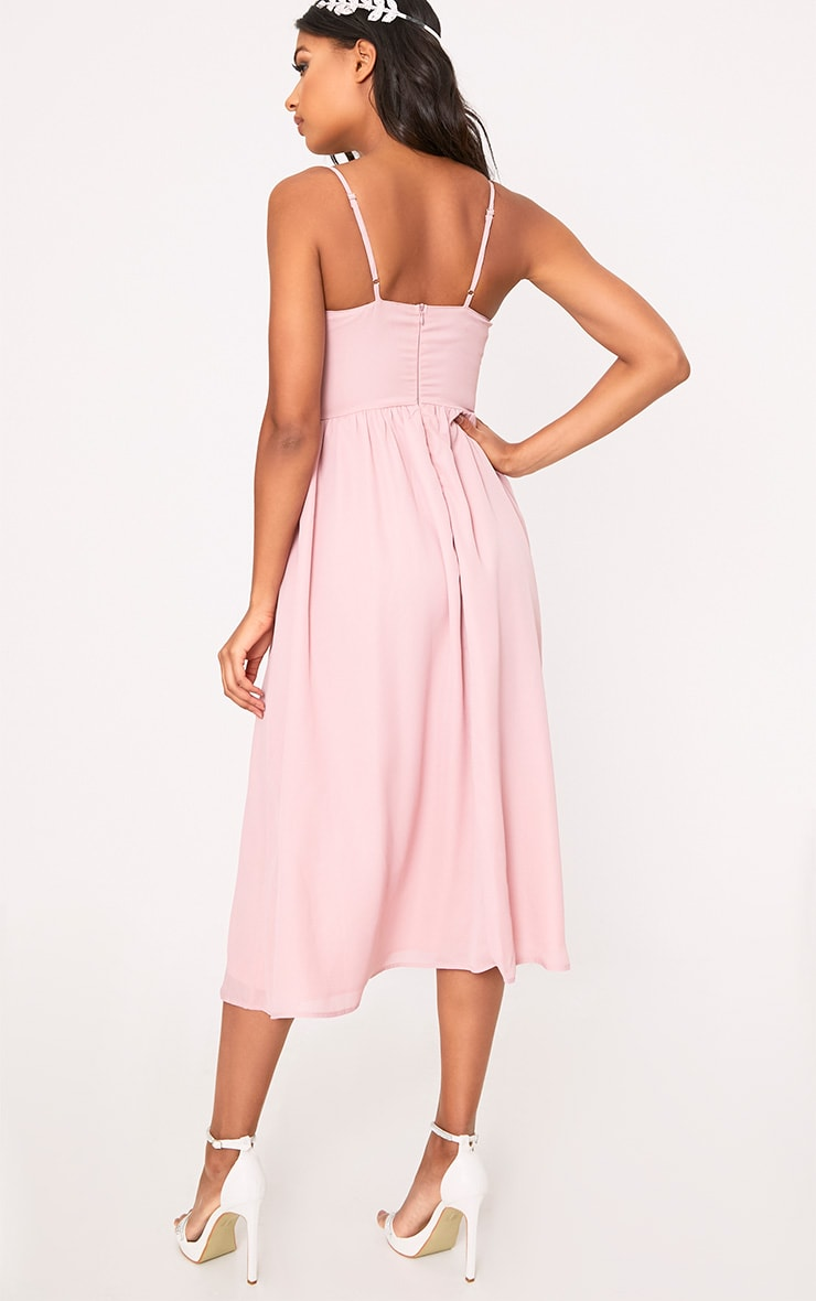 Gracelyn Dusty Pink Pleat Detail Midi Dress  2
