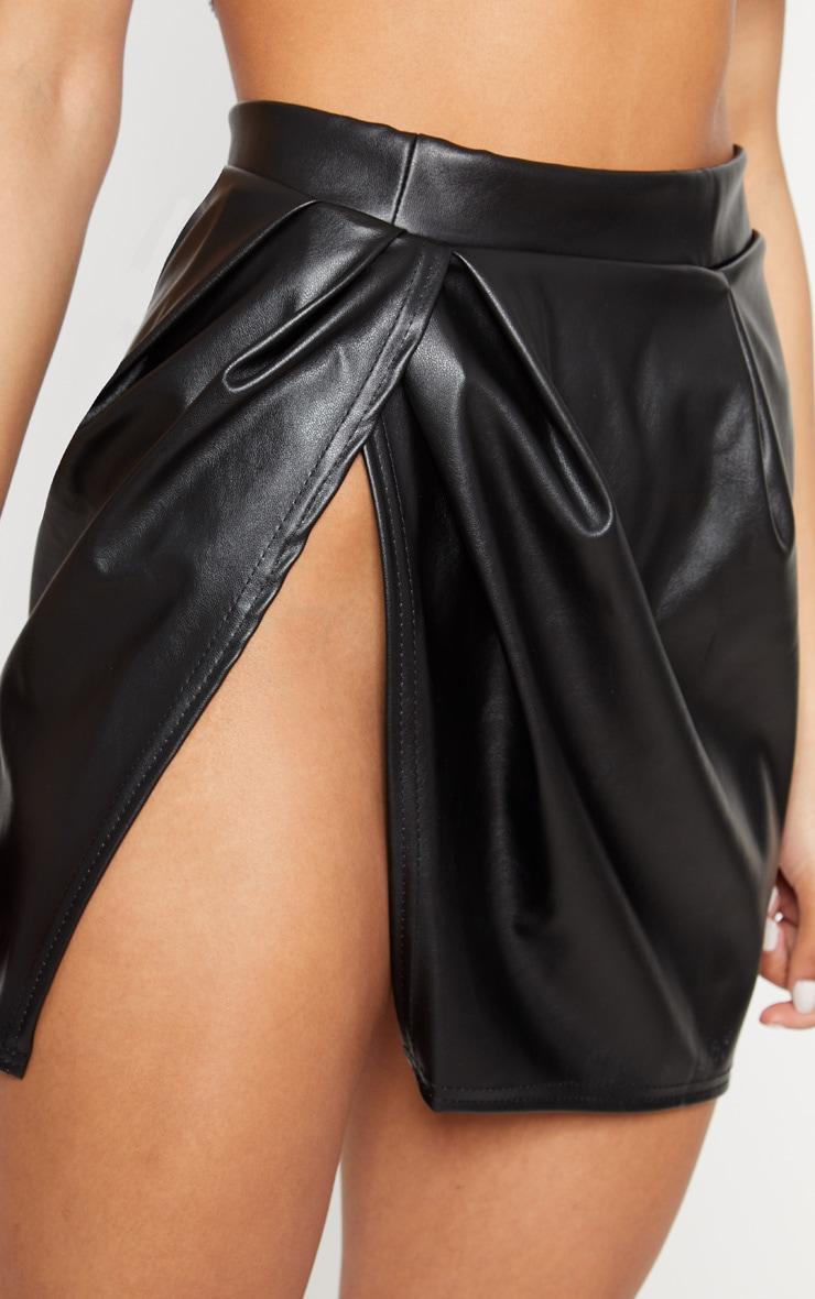 Black Faux Leather Thigh Split Skirt 6