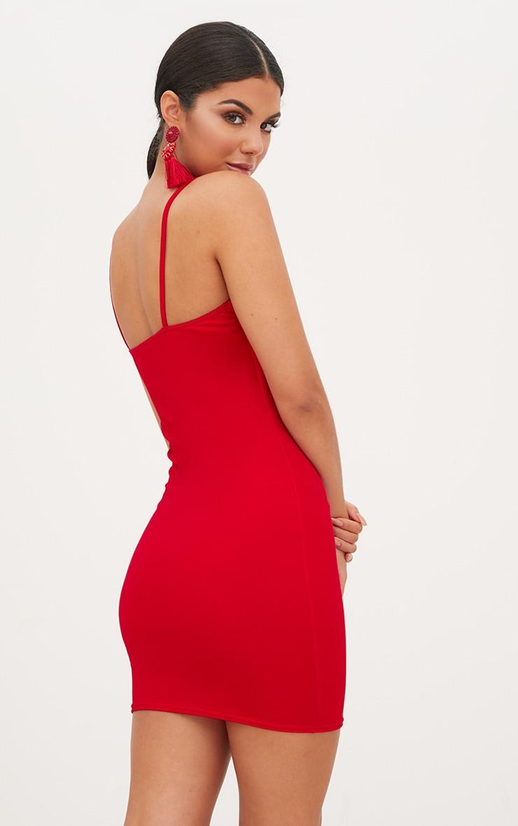 Red Square Neck Spaghetti Strap Bodycon Dress 2