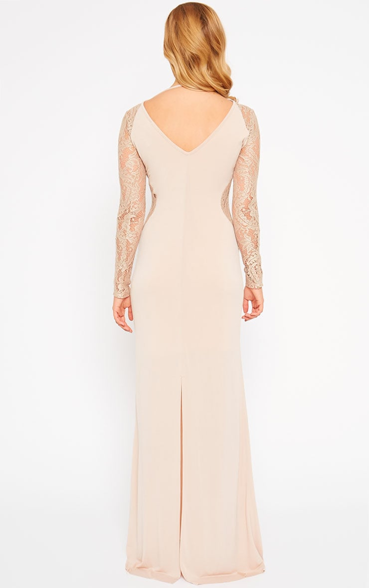 Debbie Nude Lace Insert Maxi Dress 2