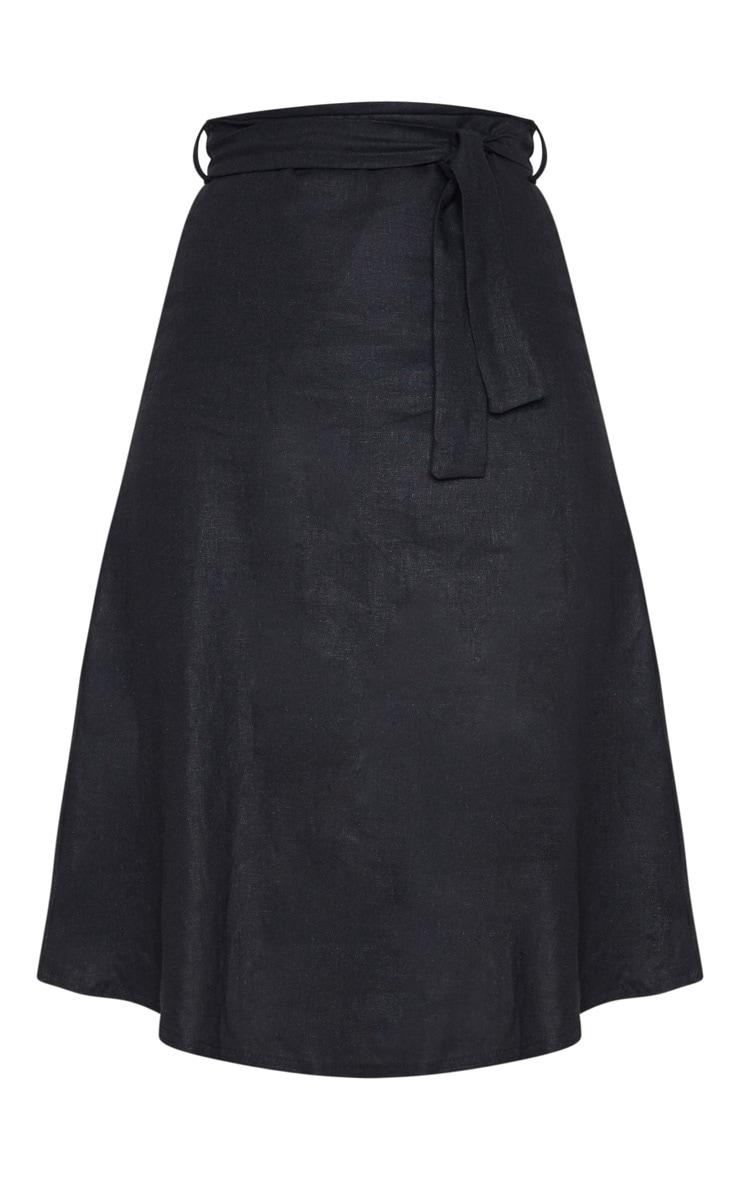 Black Linen Mix Tie Waist Midi Skirt 3