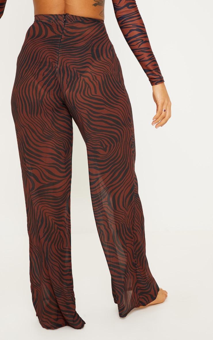 Rust Zebra Wide Leg Beach Trouser 4