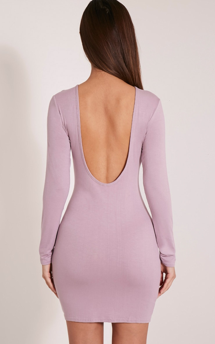 Basic Mauve Scoop Back Bodycon Dress 2