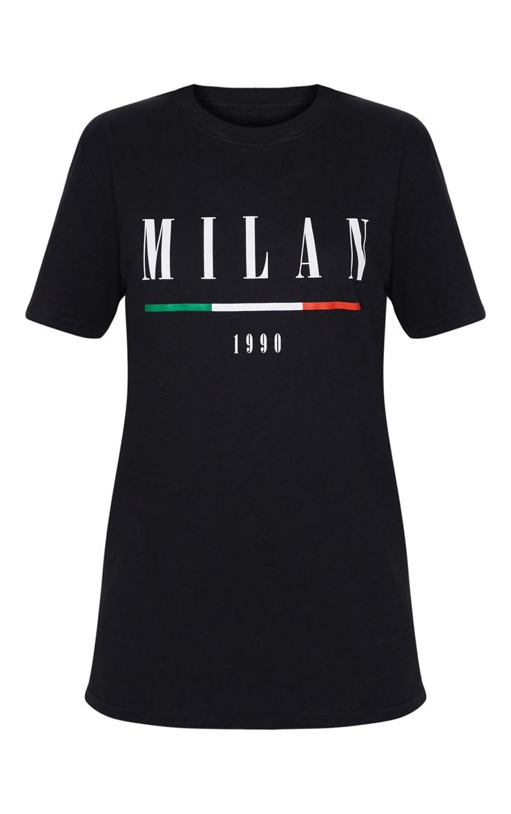 Black Milan Slogan Oversized T Shirt 3