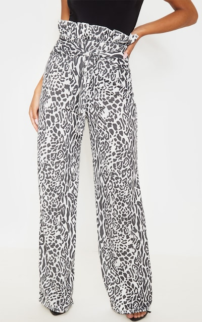 Grey Leopard Crepe Paperbag Wide Leg Trousers
