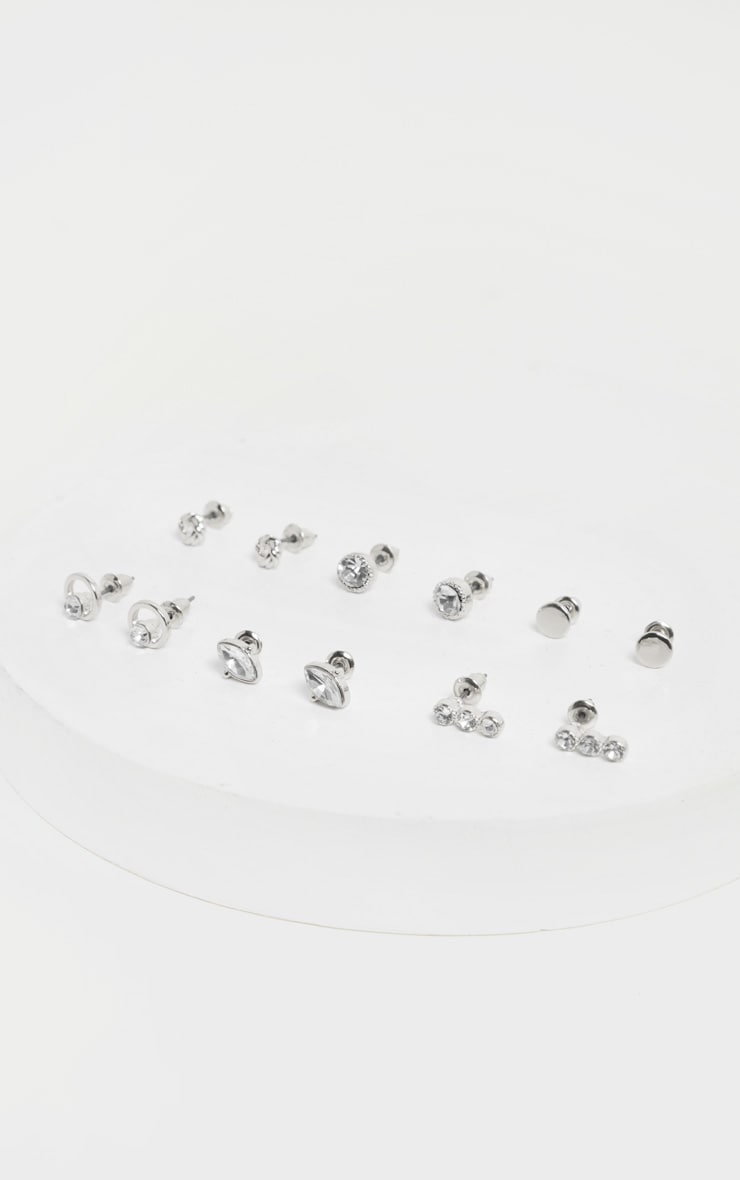 Silver Multi Crystal Small Stud Six Pack 1