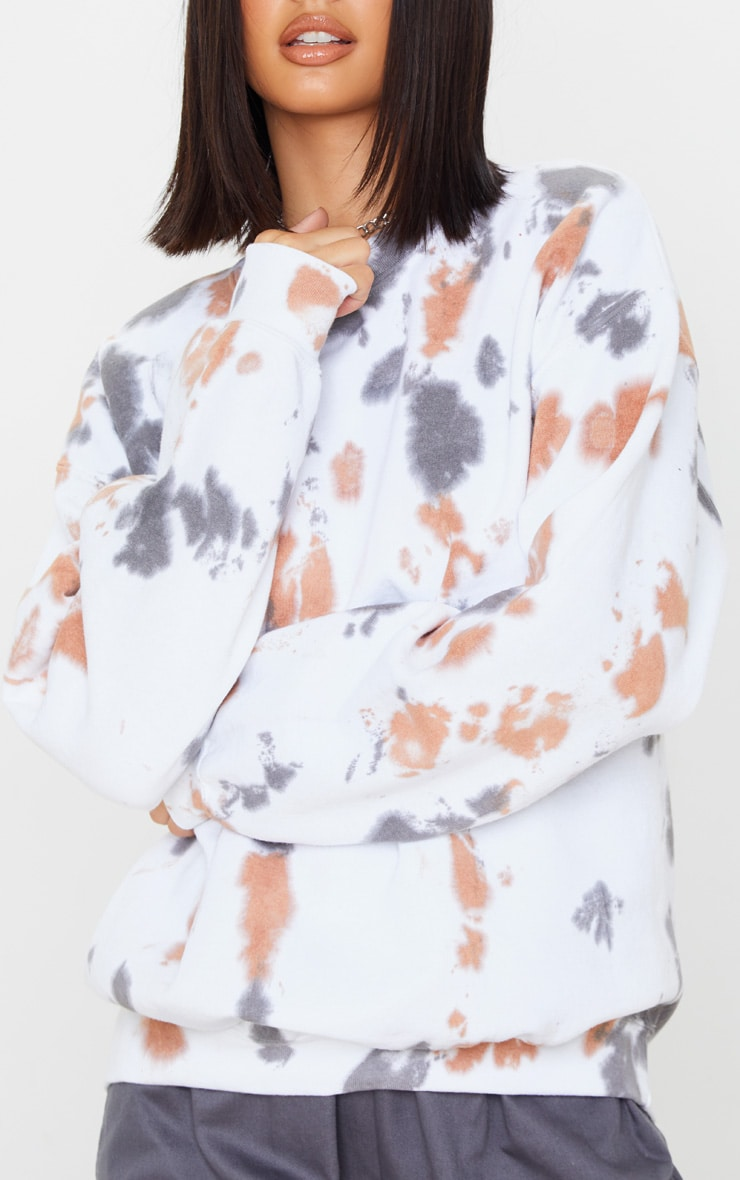 White Paint Effect Oversized Sweater 5