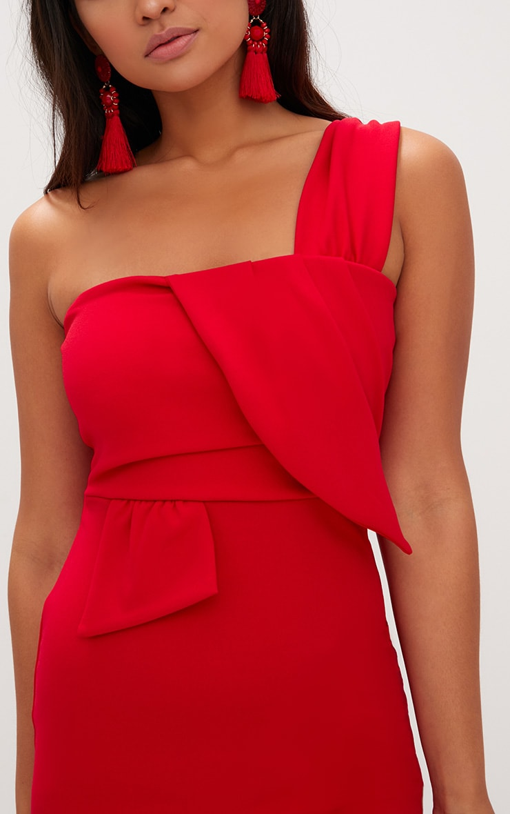 Red One Shoulder Origami Detail Bodycon Dress 5