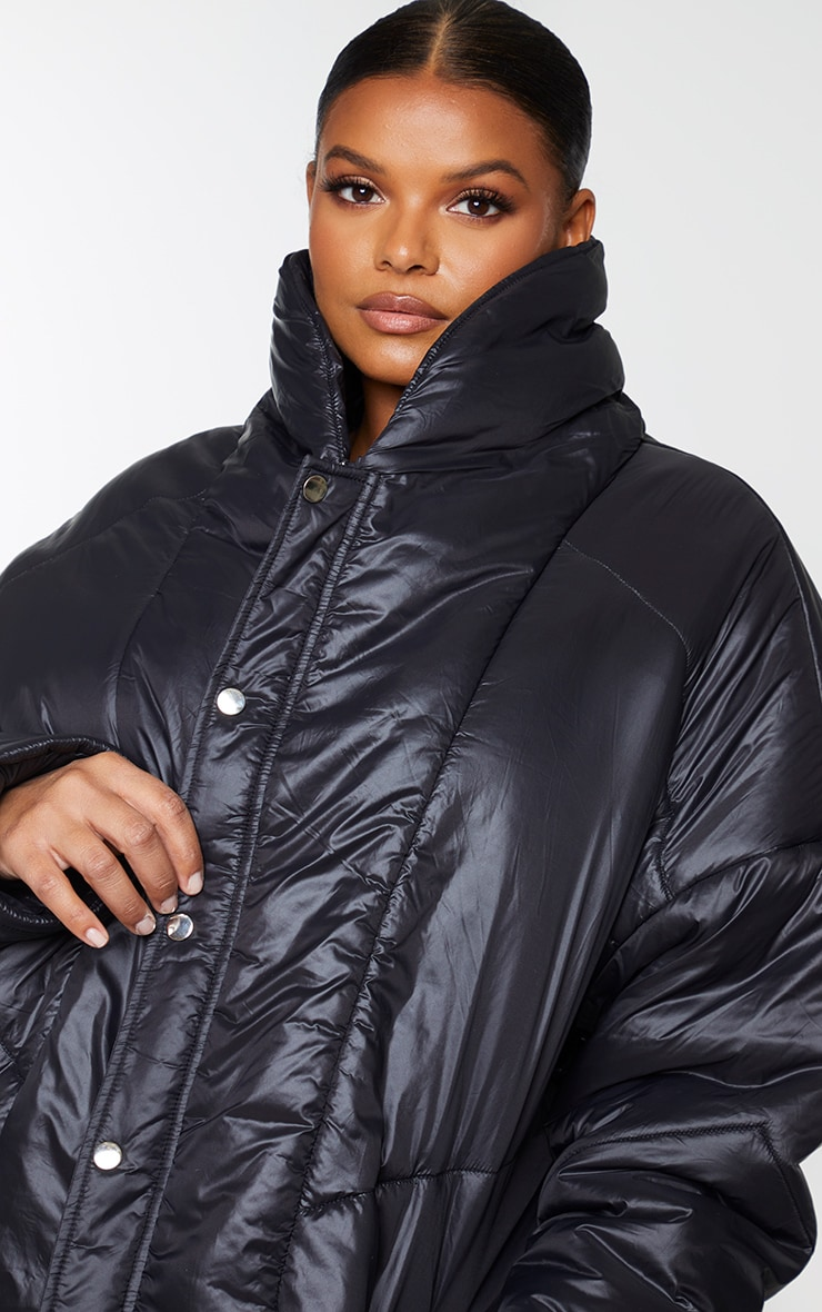 Plus Black Midi Oversized Puffer Coat 4