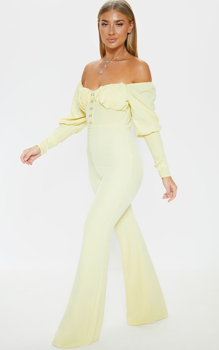 Lemon Ruched Flare Leg Bardot Jumpsuit