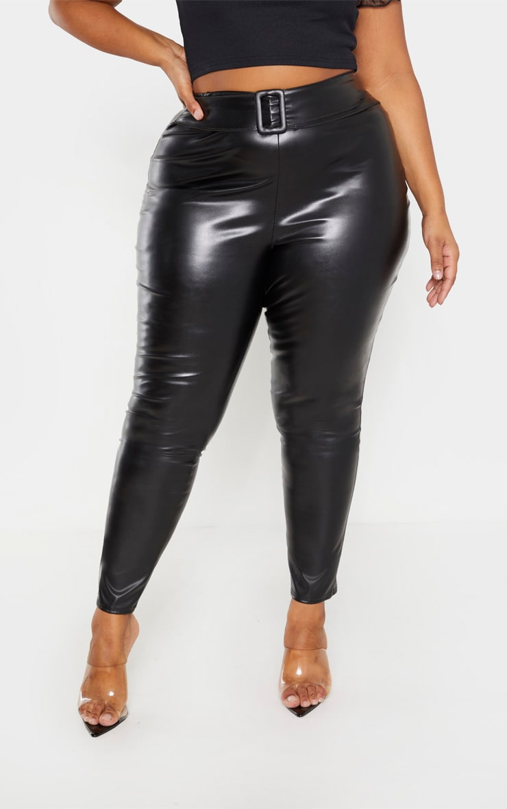 Plus Black PU Belt Detail Trousers  2