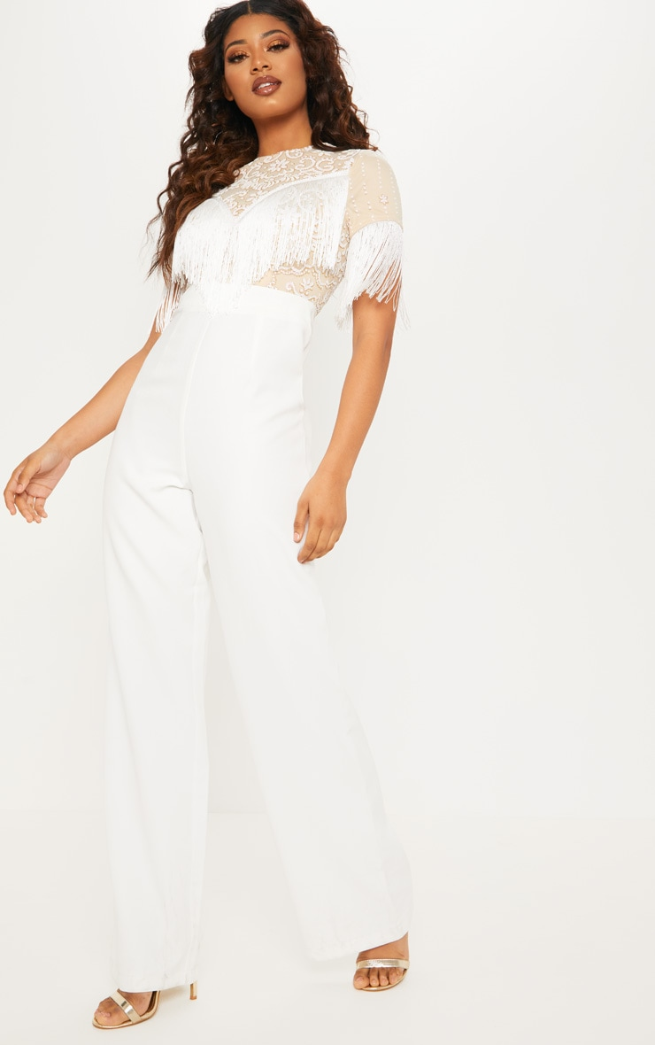 Tall White Sequin Embroidered Tassel Front Jumpsuit 4