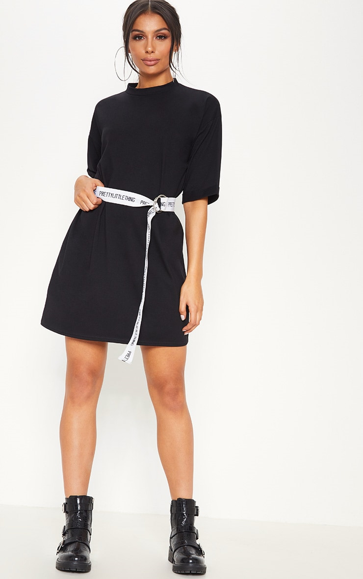 Black Oversized Boyfriend Sleeve T Shirt Dress 1