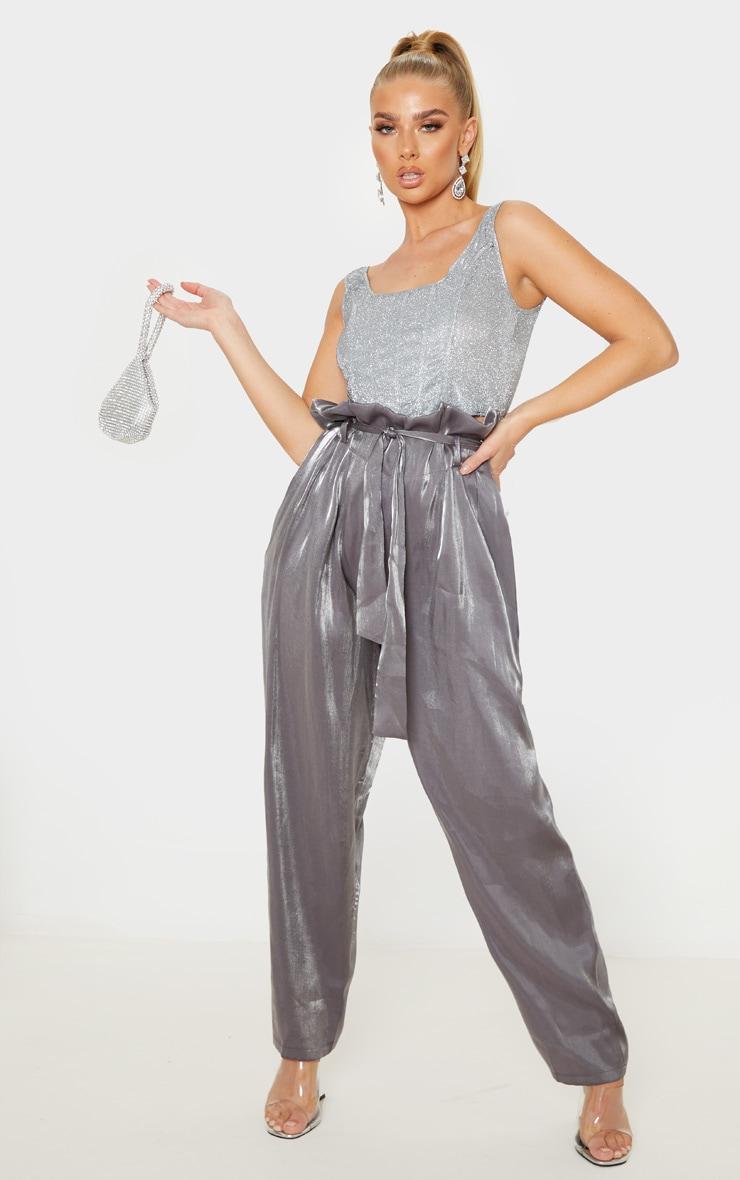Grey Shimmer Paper Bag Balloon Leg Pants 1