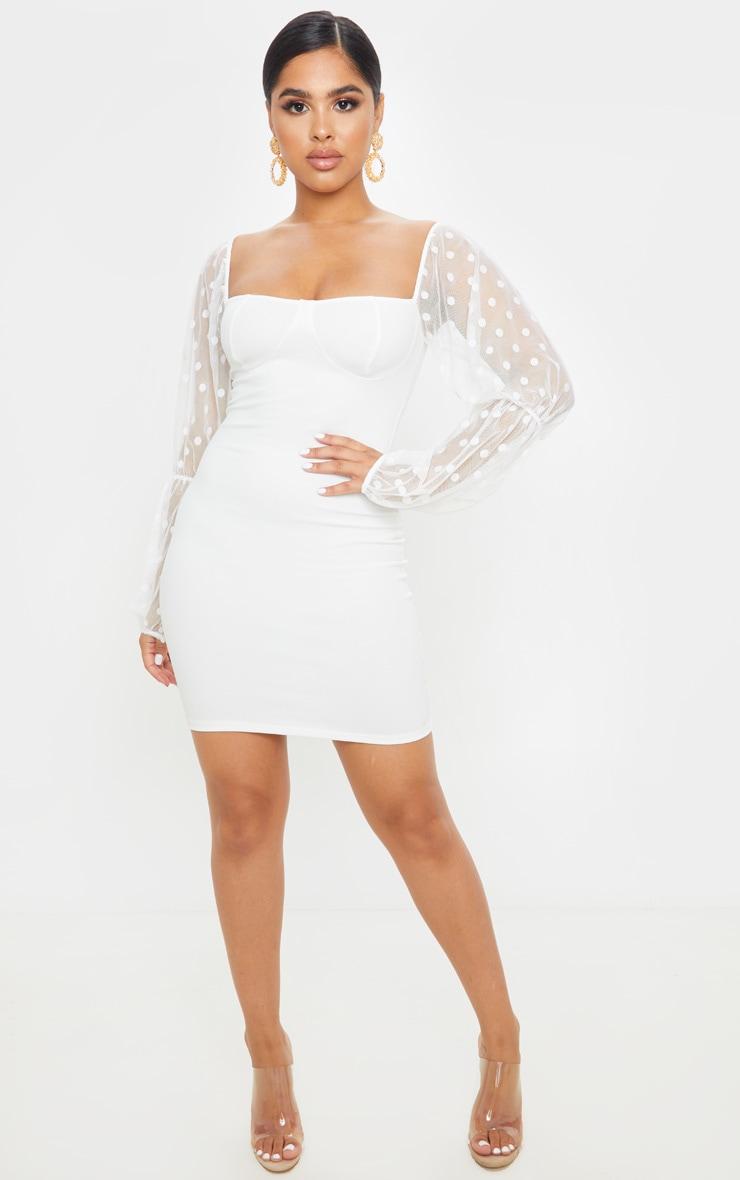 Petite White Dobby Mesh Puff Sleeve Mini Dress  4