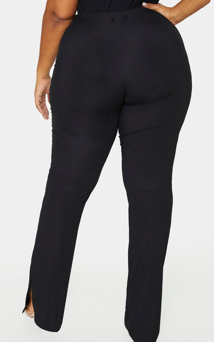 Plus Black Ribbed Skinny Split Hem Pants 4