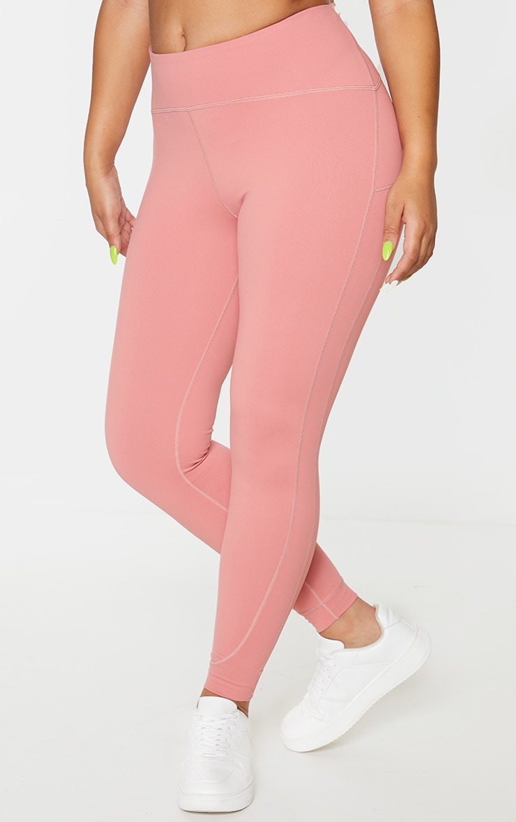 Rose Brushed Contour Stitch Detailing Gym Leggings 2