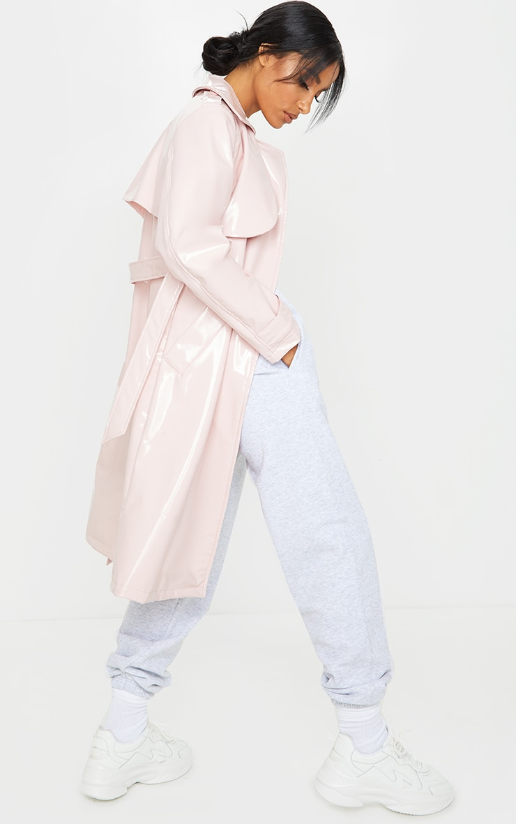Pink Belted Patent Trench Coat 2