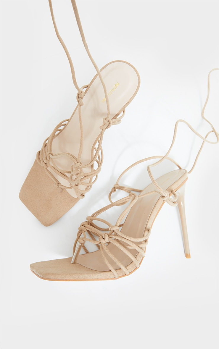 Sand Knot Detail Lace Up High Heels 4