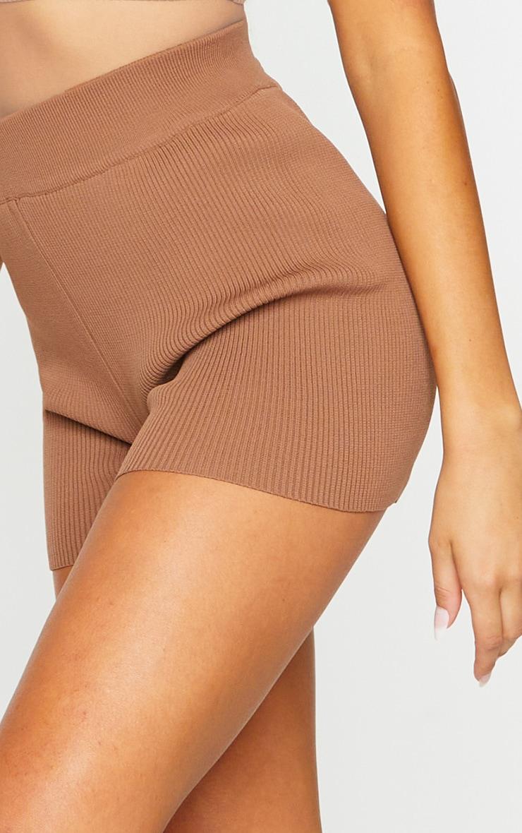 Chocolate Ribbed Knitted High Waist Hot Pant Shorts 5