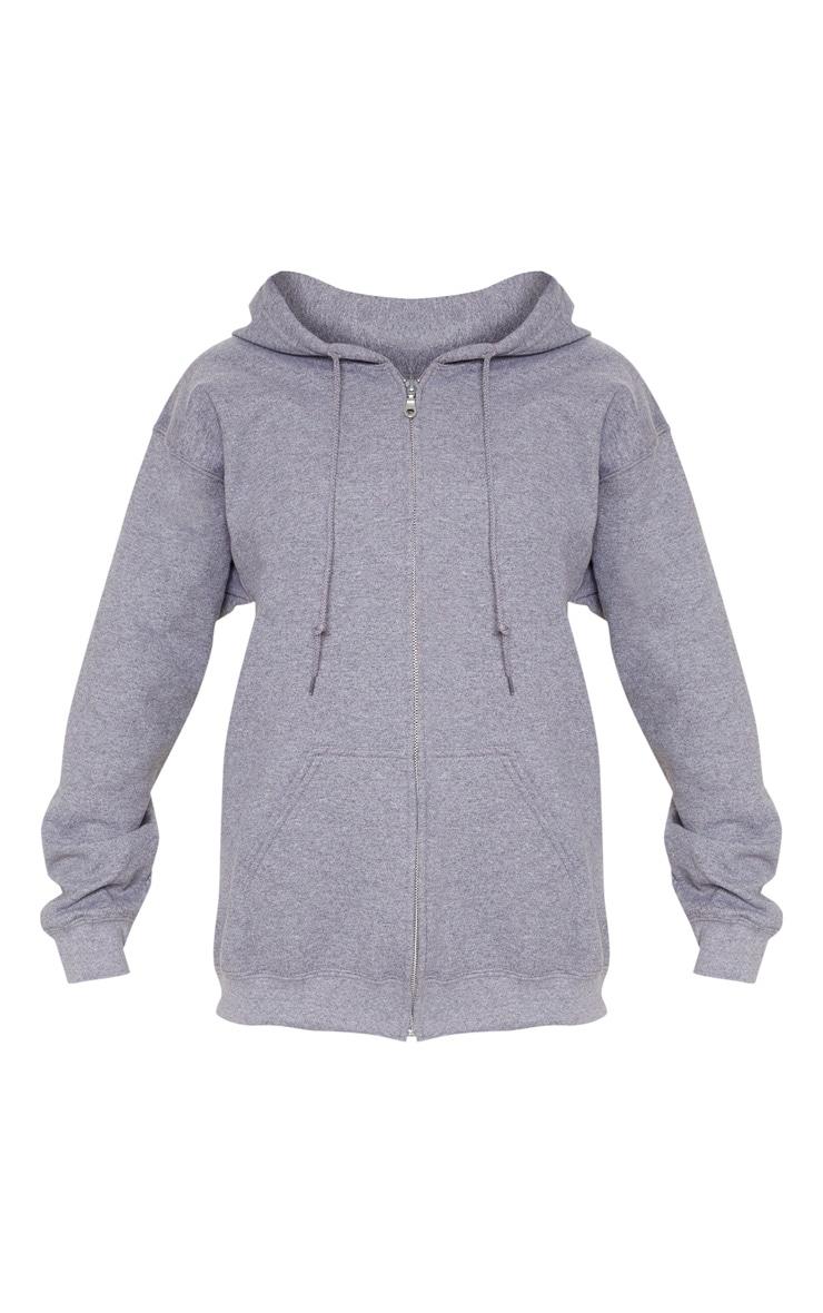 Hoodie gris à zip et doublure polaire 3