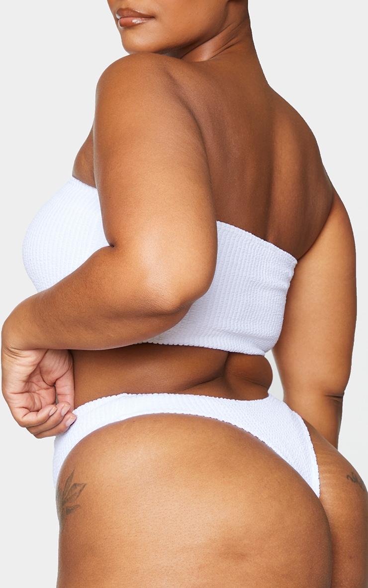 Plus White Crinkle Thong Bikini Bottoms 3