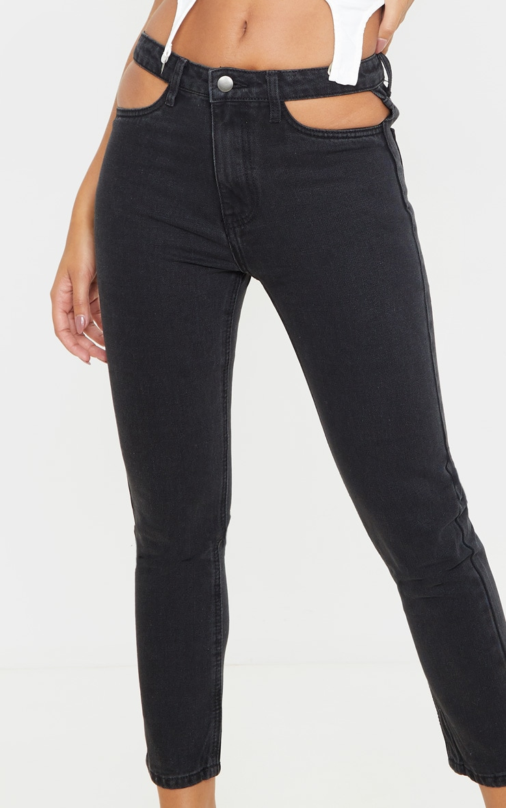 Washed Black Cut Out Waist Straight Leg Jeans 6