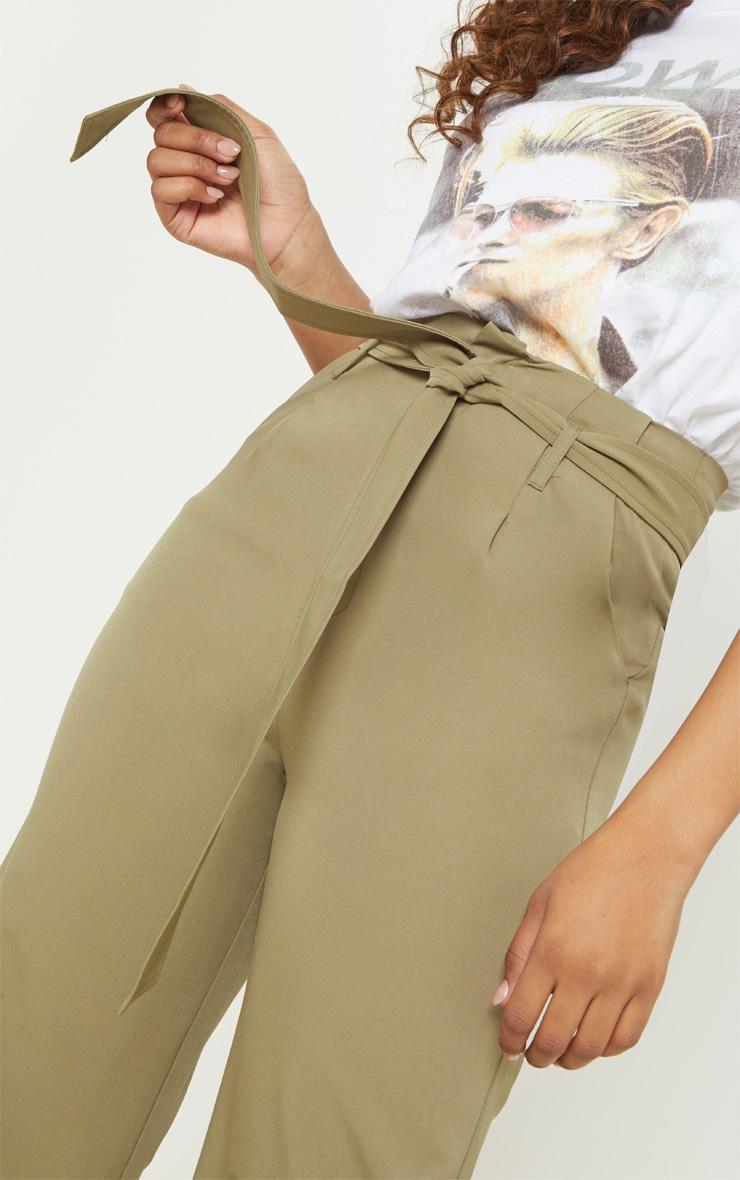 Tall Olive Green Woven Belt Detail Wide Leg Culotte 5