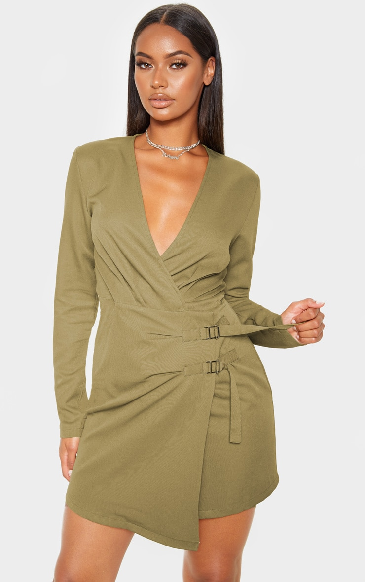Khaki Buckle Detail Wrap Bodycon Dress 1