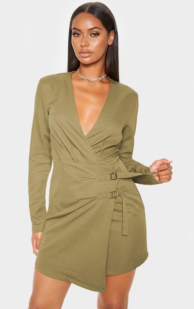 Khaki Buckle Detail Wrap Bodycon Dress