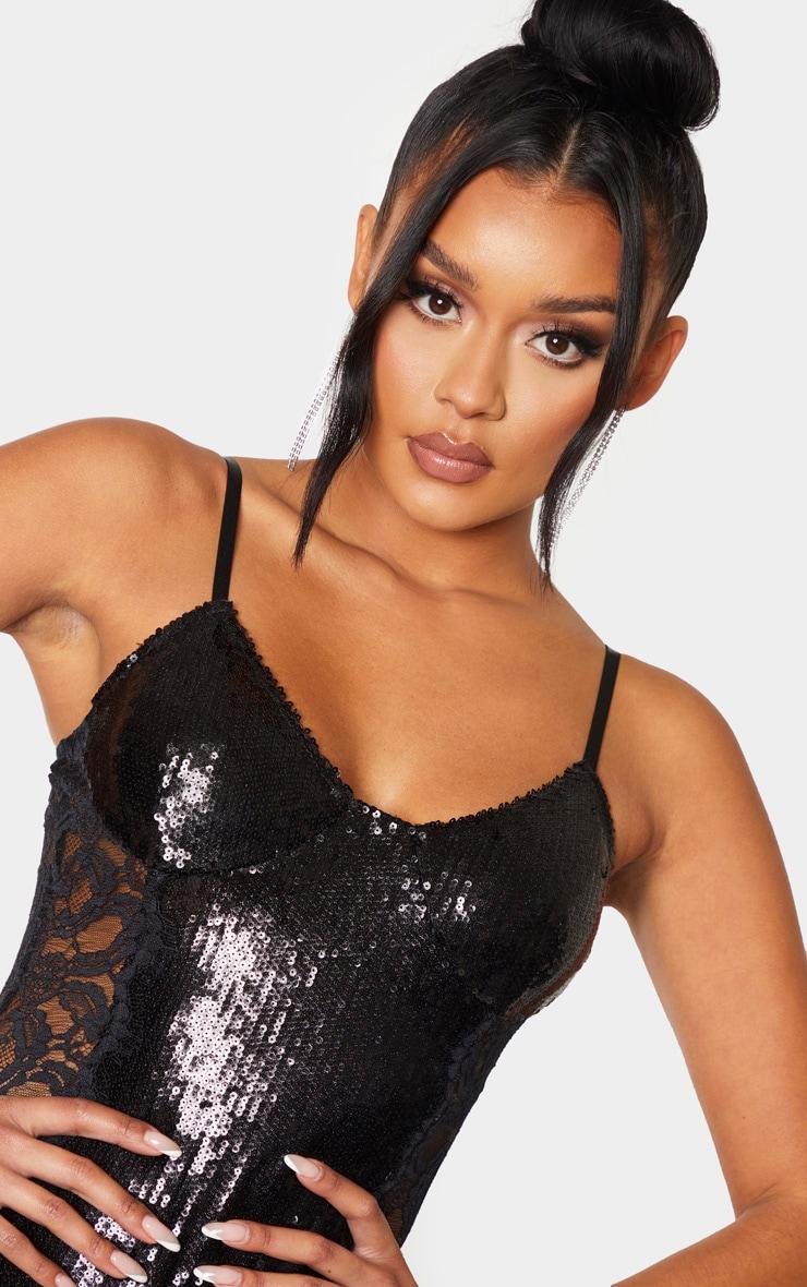 Black Strappy Sequin Lace Panel Bodycon Dress  5
