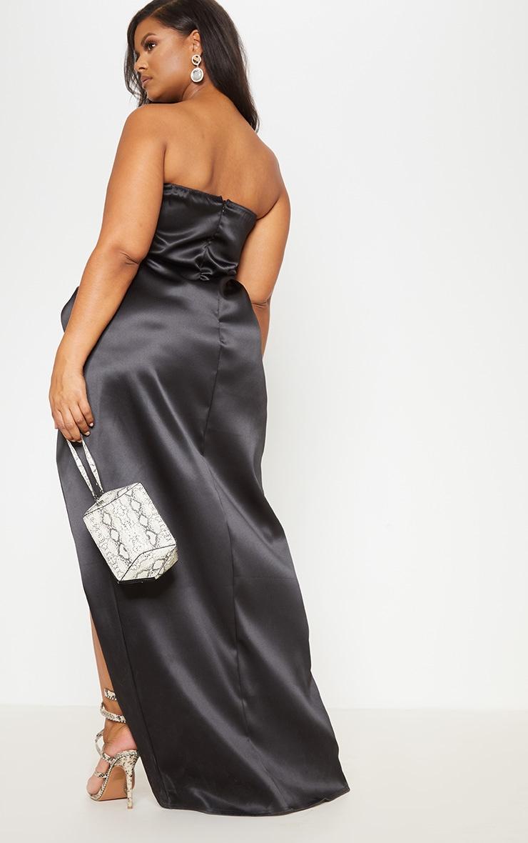 Black Bonded Satin Bandeau Ruched Detail Maxi Dress 3