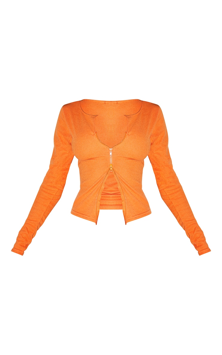 Bright Orange Soft Brushed Rib Double Zip Front Top 5