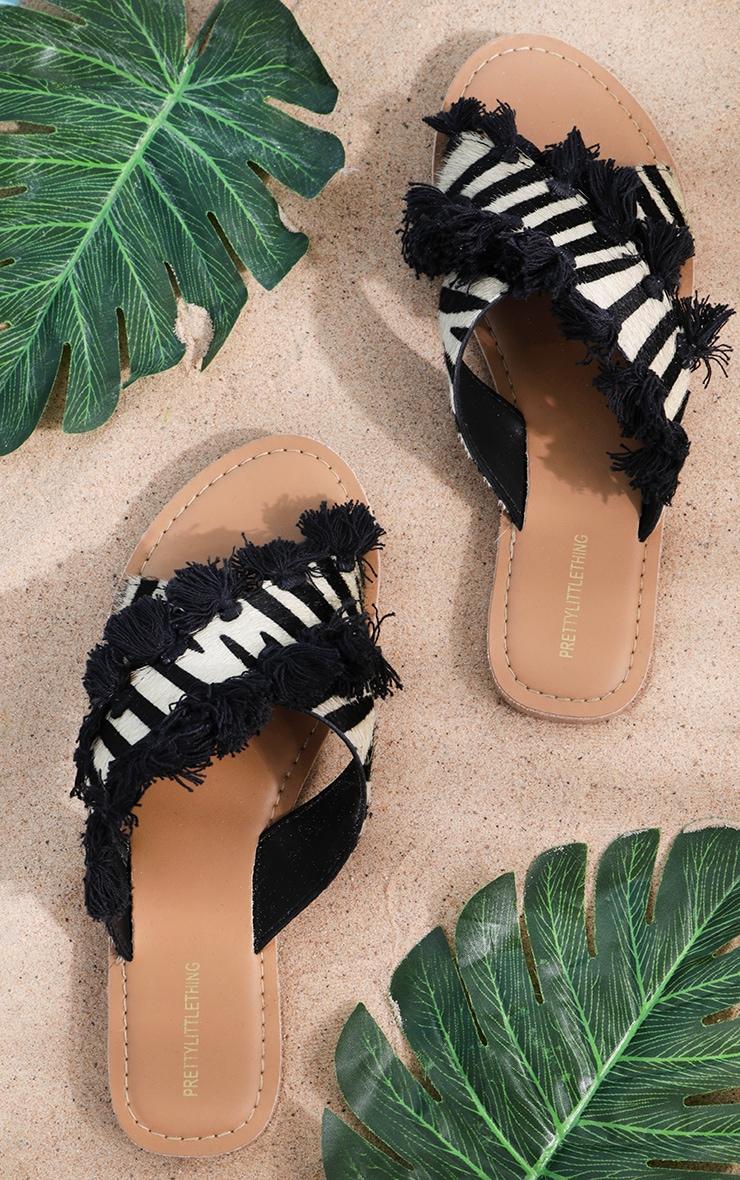 Zebra Cross Strap Tassel Mule Sandal 1
