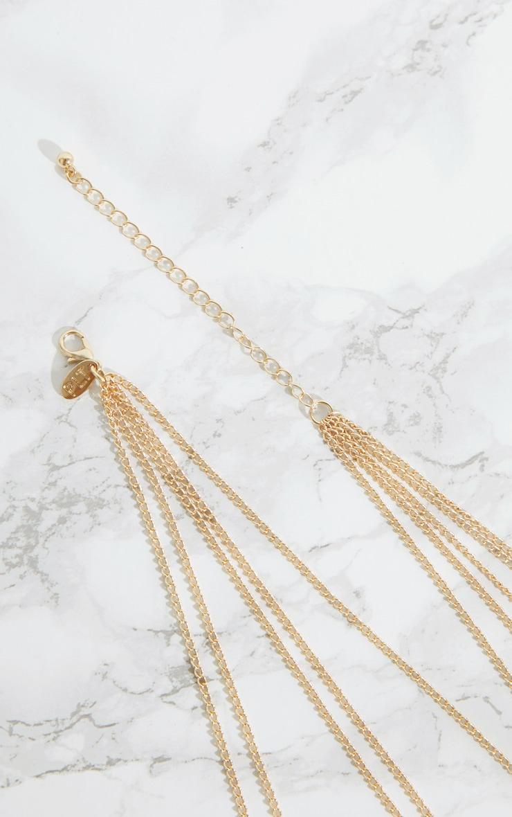 Gold Grecian Pendant Multi Layer Necklace 4
