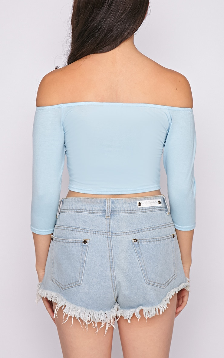 Joy Blue Bardot Crop Top  2