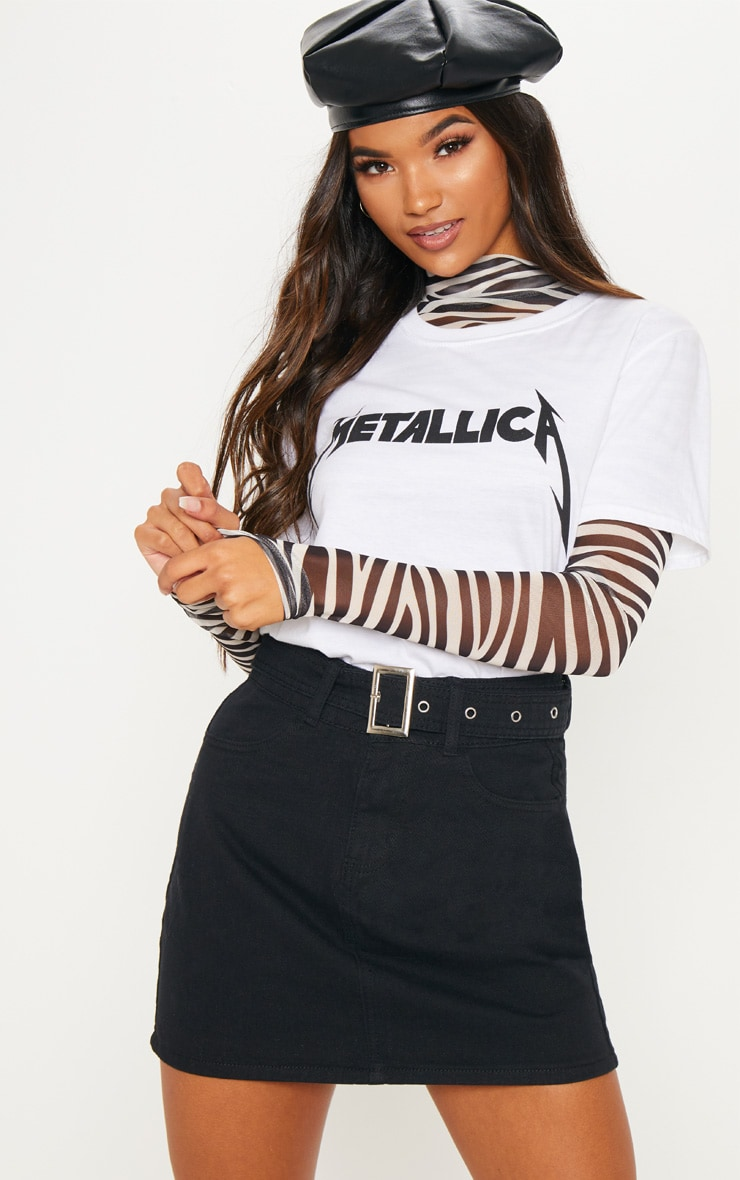 Black Belted Buckle Denim Skirt