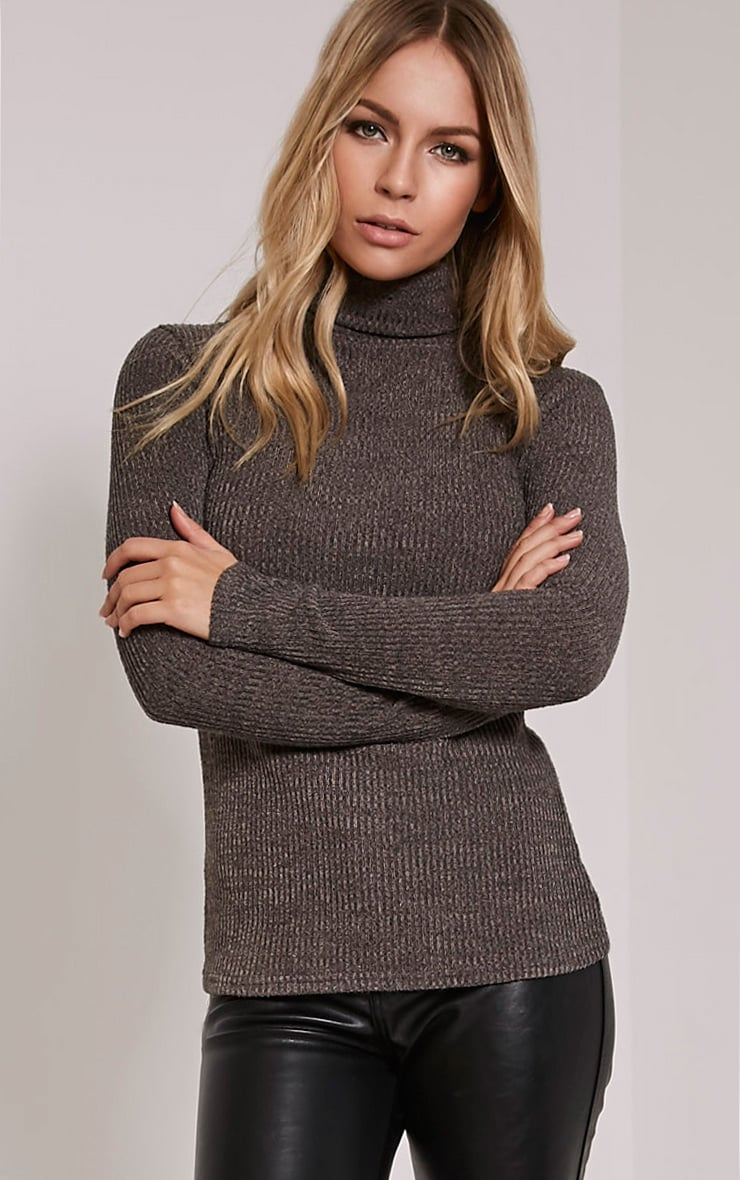 Delty Charcoal Knitted Rib Turtle Neck Top 1
