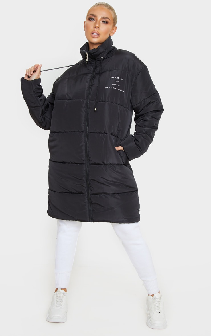 Black Slogan Midi Oversized Puffer Coat 1